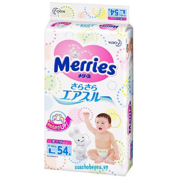 Tã dán Merries nhập khẩu Size L 54 miếng, 9-14 kg