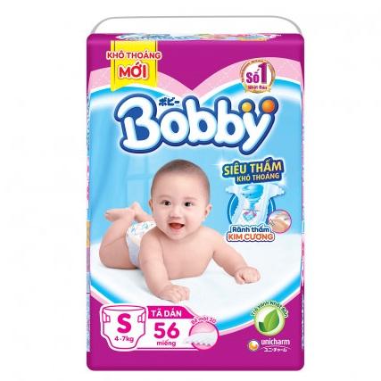 Tã dán Bobby siêu thấm S 56 miếng, cho bé 4-7kg
