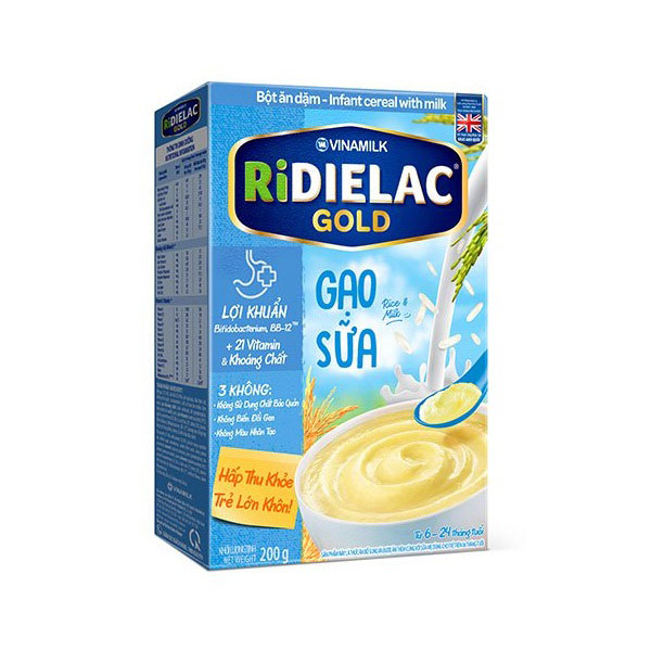 Bột Ăn Dặm cho bé Ridielac Gold Gạo Sữa, 200g