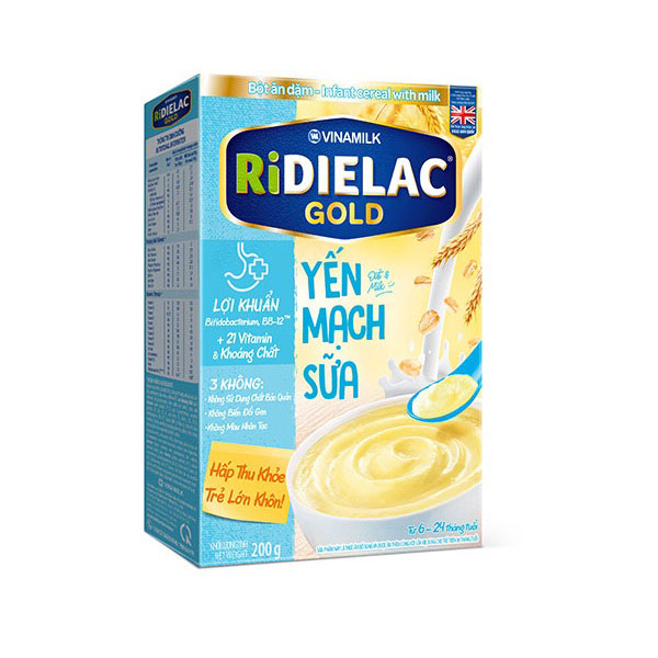 Bột Ăn Dặm Ridielac Gold Yến Mạch Sữa, 200g