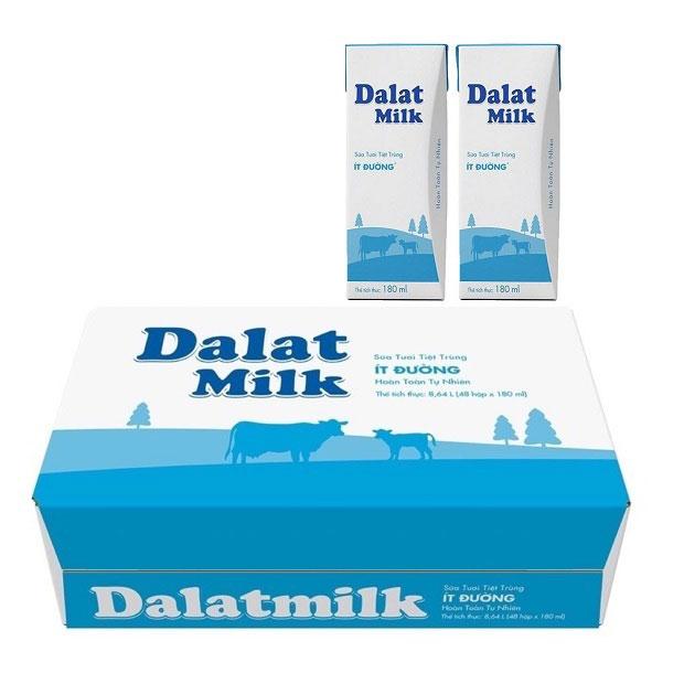 Thùng Sữa Tươi Tiệt Trùng Dalatmilk Ít Đường, Hộp 180ml