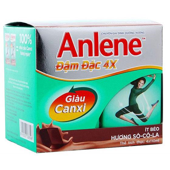 Lốc sữa Anlene đậm đặc 4x  hương Socola 4 x110ml