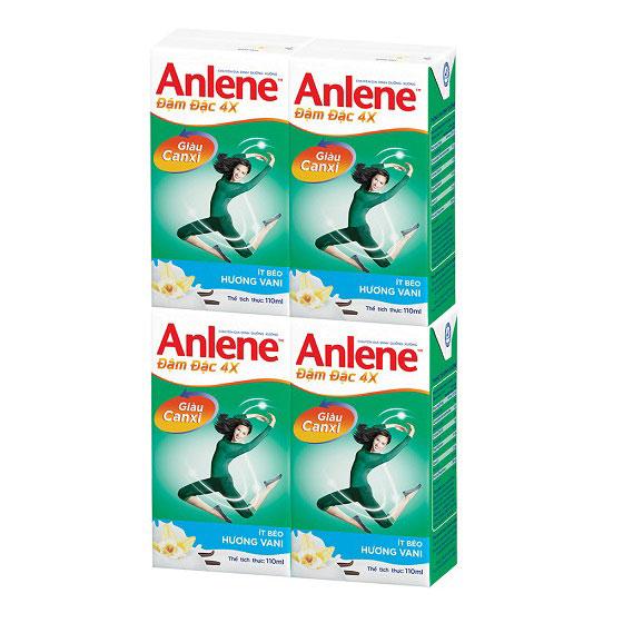Lốc sữa Anlene đậm đặc hương Vani 4x110ml