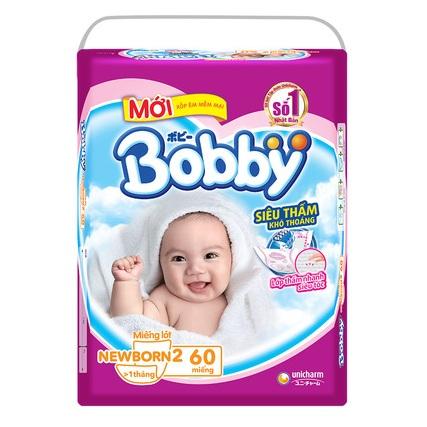Miếng lót Bobby Newborn 2, 60 miếng,>1 tháng