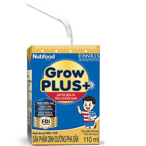 Sữa bột pha sẵn Nuti Grow Plus Xanh, 110ml, >1 tuổi