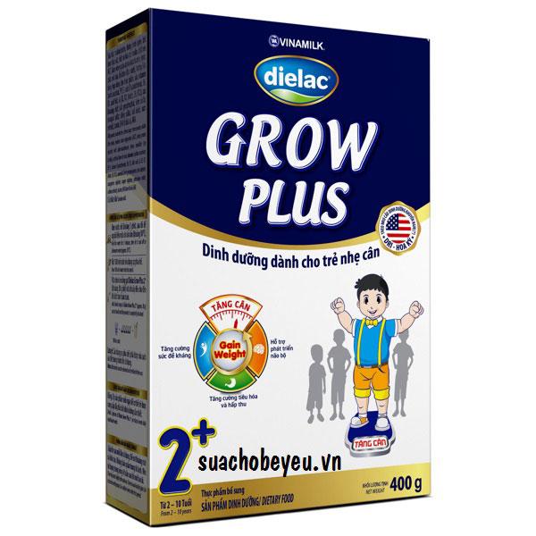 Sữa Dielac Grow Plus 2+ Màu Xanh, hộp giấy 400g