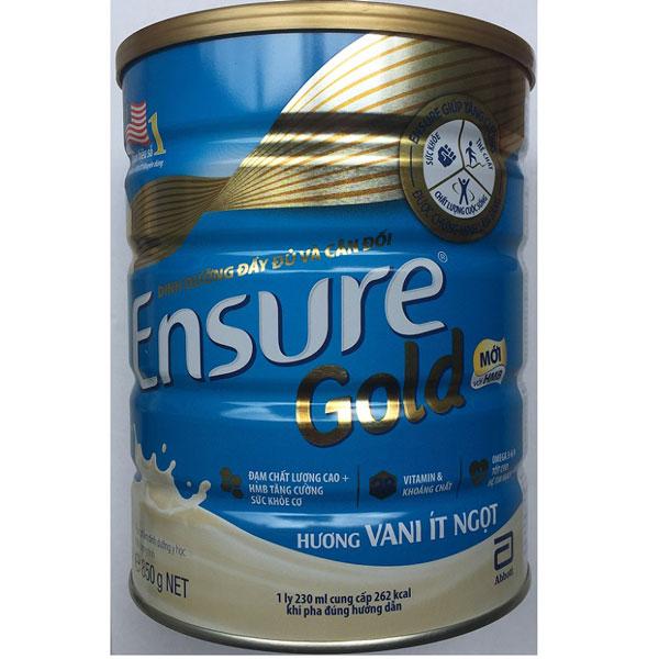 Sữa Ensure Gold HMB, ít ngọt hương vani, 850g