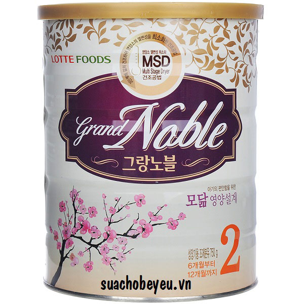 Sữa Grand Noble 2, Lotte Foods, 750g, 6-12 tháng