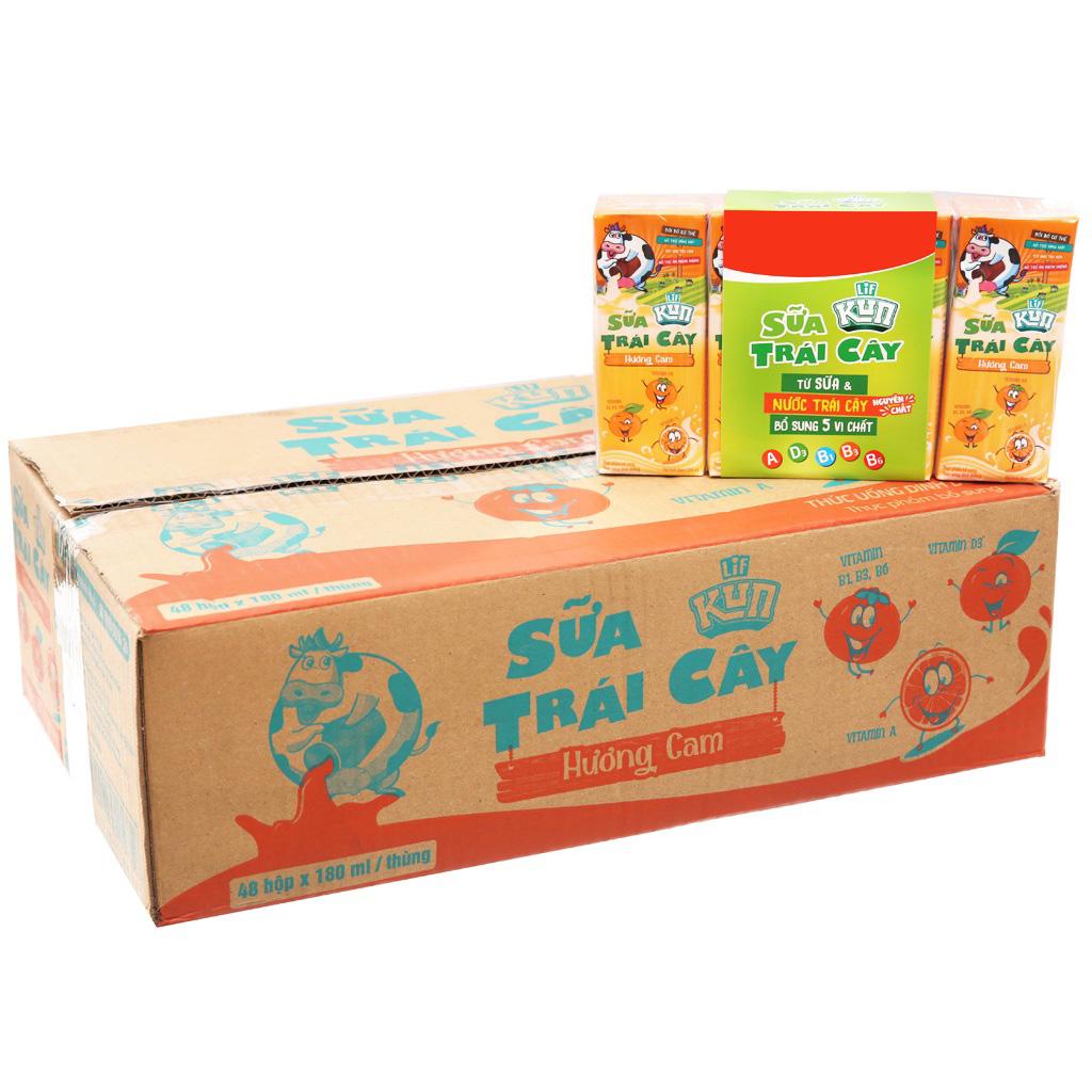 Thùng Sữa Trái Cây Lif Kun Hương Cam, hộp 180ml