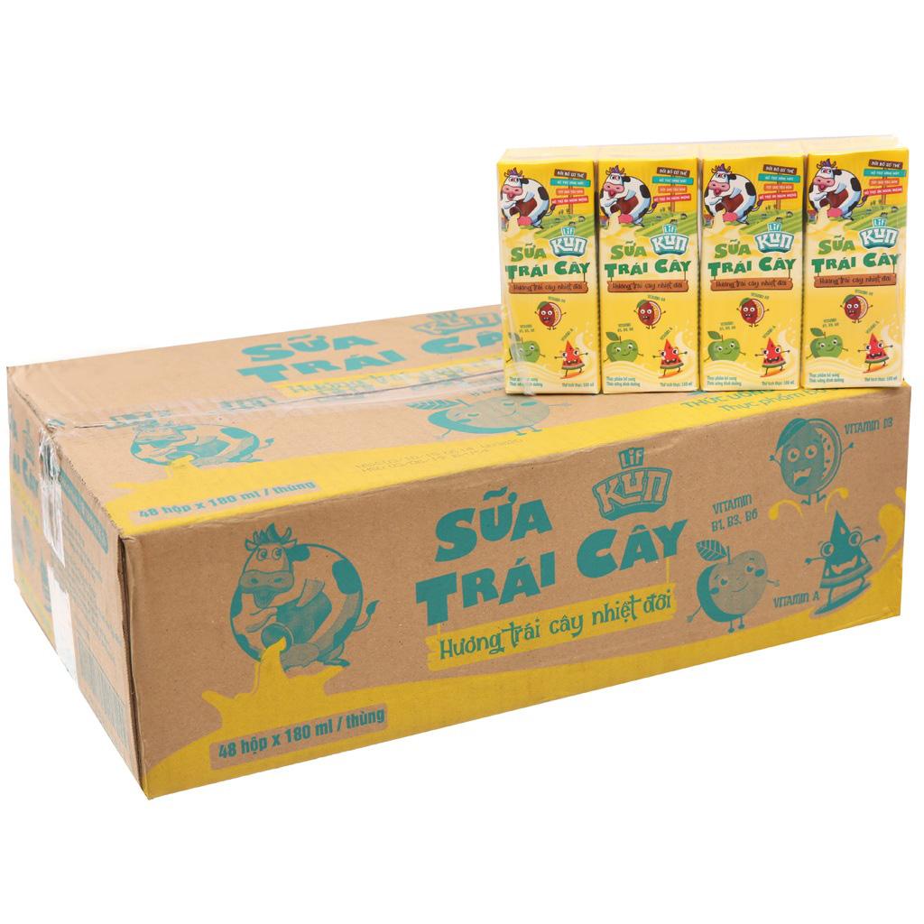 Thùng Sữa Lif Kun Hương Trái Cây Nhiệt Đới, hộp 180ml