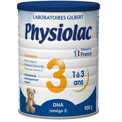 Sữa Physiolac số 3, 1-3 tuổi, Gilbert Pháp, 900g
