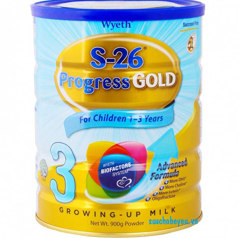 Sữa S-26 Progress Gold 3, Wyeth, 1-3 tuổi, 900g