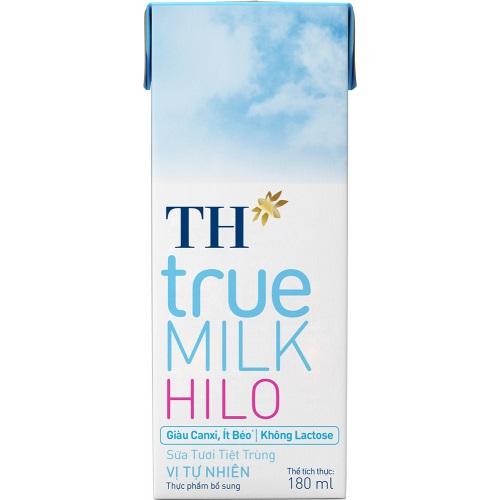 Sữa tươi TH HILO giàu Canxi, ít béo, Lactose free hộp 180ml