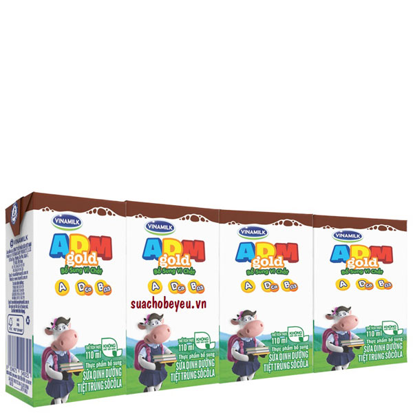 Sữa Tiệt Trùng Vinamilk ADM Gold Socola, 110ml