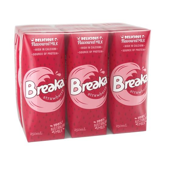 Thùng Sữa Breaka Úc vị dâu 24 hộp 250ml