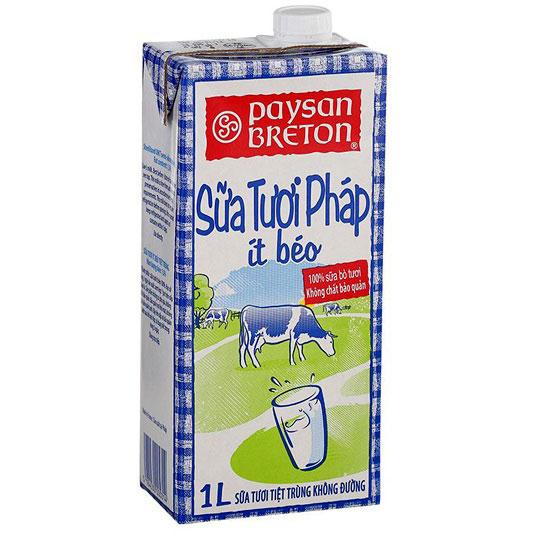 Thùng sữa tươi Paysan Breton Pháp ít béo hộp 1L