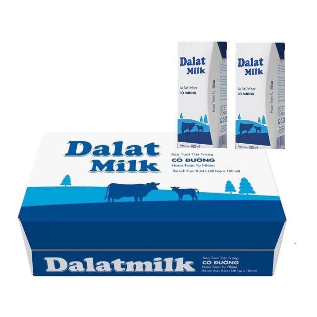 Thùng Sữa Tươi Tiệt Trùng Dalatmilk Có Đường, Hộp 180ml