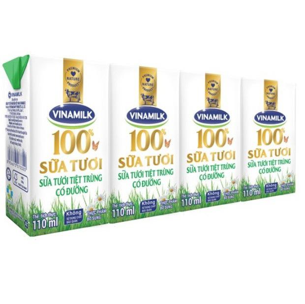 Sữa tươi Vinamilk tiệt trùng có đường, 110ml