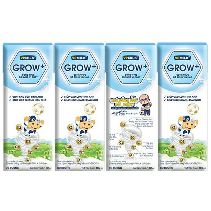 Sữa Dinh Dưỡng VPMilk Grow+ Có Đường, Hộp 180ml