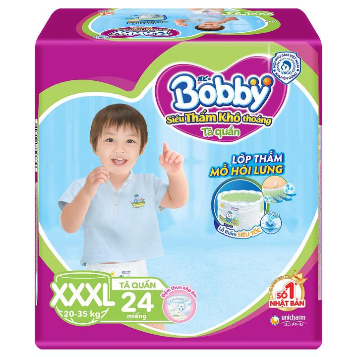 Tã quần Bobby size XXXL 24 miếng, cho trẻ 20-35kg