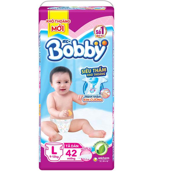 Tã dán Bobby siêu thấm L 42 miếng, trẻ 9-13kg
