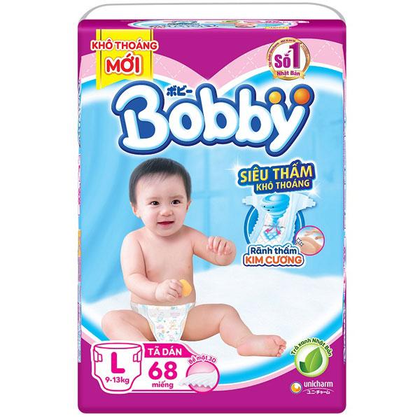 Tã dán Bobby siêu thấm L 68 miếng, trẻ 9-13 kg
