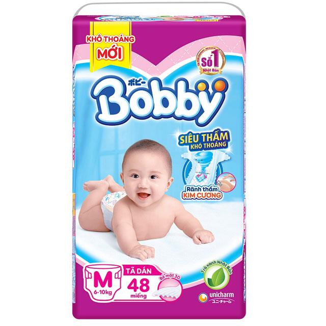Tã dán Bobby siêu thấm size M 48 miếng, 6-10kg