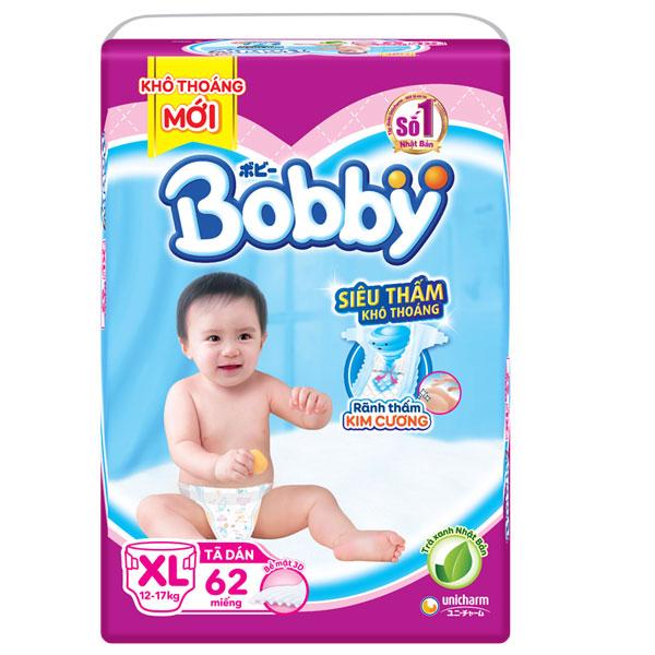 Tã dán Bobby siêu thấm XL 62 miếng, trẻ 12-17kg