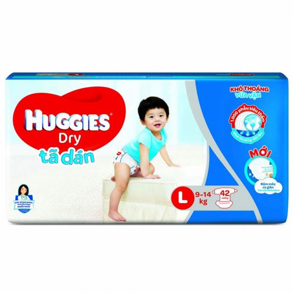 Tã dán Huggies Dry size L 42 miếng cho trẻ 9-14kg