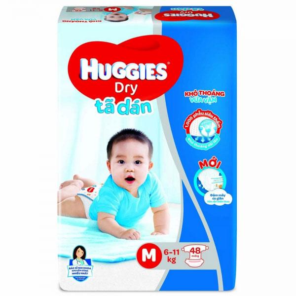 Tã dán Huggies Dry size M 48 miếng cho trẻ 5-10kg