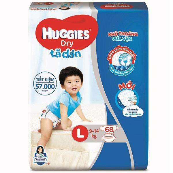 Tã dán Huggies Dry size L 68 miếng cho trẻ 8-13kg