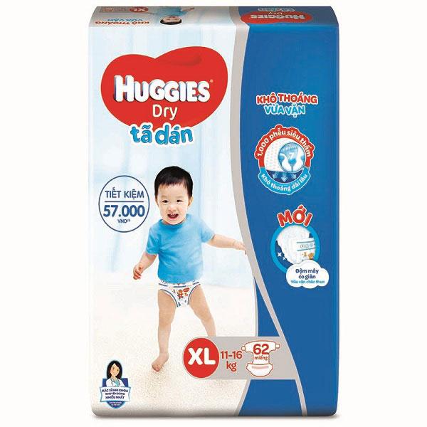 Tã dán Huggies Dry size XL62 miếng, trẻ 11-16kg