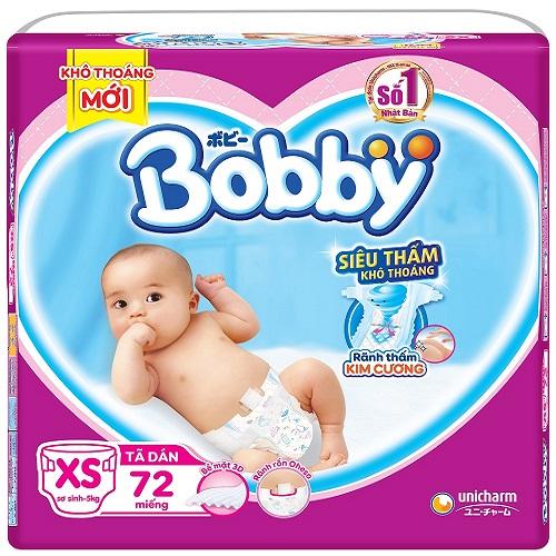 Tã dán sơ sinh Bobby size XS 72 miếng, bé < 5kg