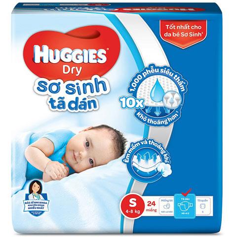 Tã dán sơ sinh Huggies S 24 miếng cho trẻ 4-8kg