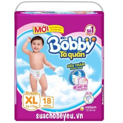 Tã quần Bobby size XL-18 miếng, cho trẻ 12-17kg