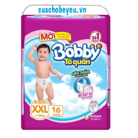Tã quần Bobby size XXL 16 miếng, cho trẻ >16kg