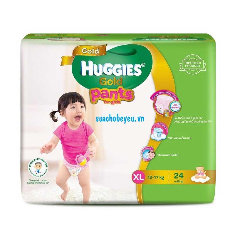 Tã quần Huggies Gold bé gái XL 24 miếng, 12-17kg