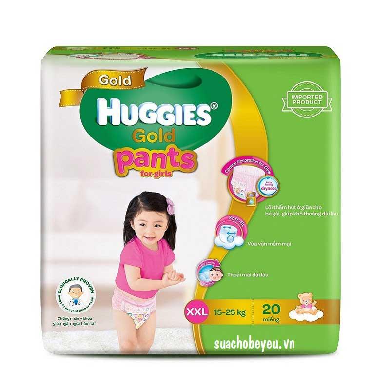 Tã quần Huggies Gold bé gái  XXL20 miếng, 15-25kg