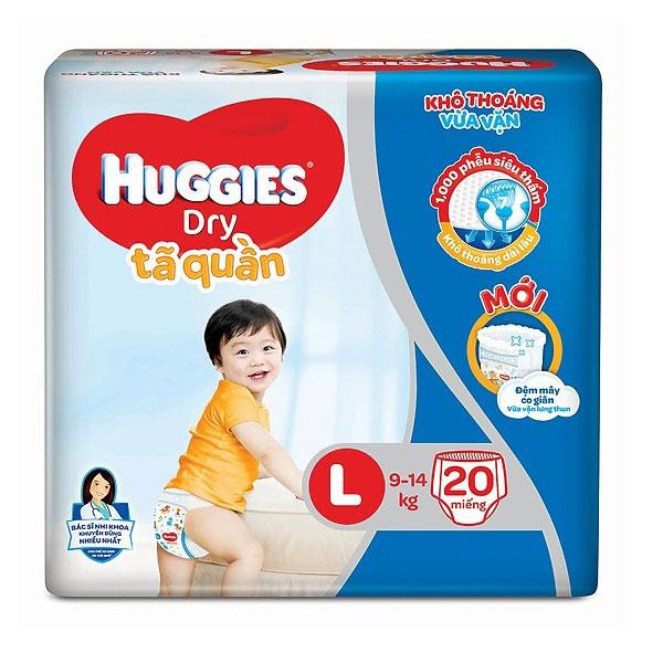 Tã quần Huggies Dry size L 20 miếng trẻ 9-14kg