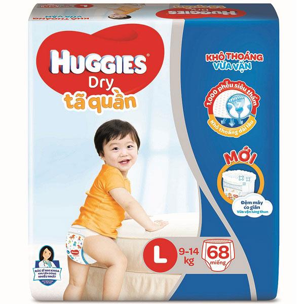 Tã quần Huggies Dry size L 68 miếng trẻ 9-14kg