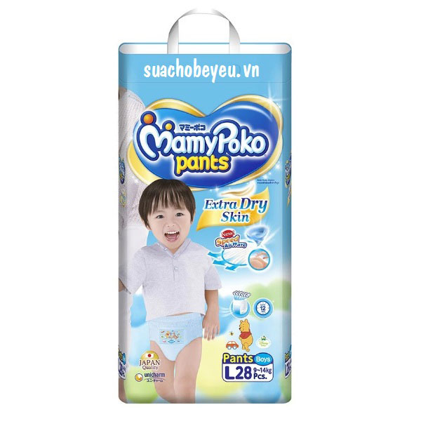 Tã quần Mamypoko size L-28 miếng bé trai 9-14kg