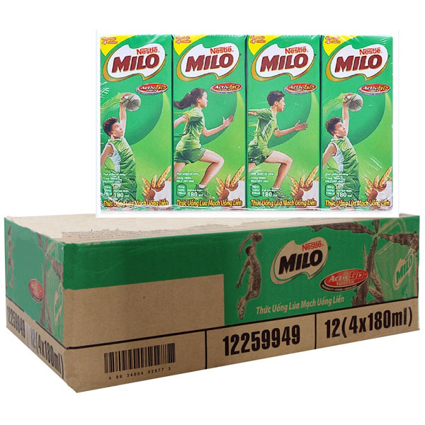 Thức uống lúa mạch Ca Cao Nestle Milo, 180ml