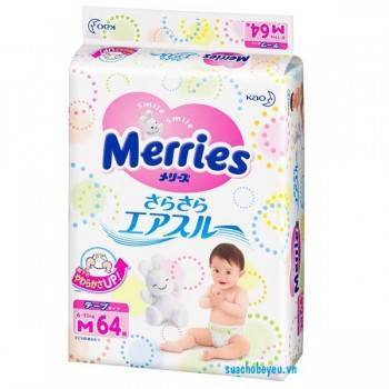 Tã dán Merries nhập khẩu Size M 64 miếng, 6 - 11 kg