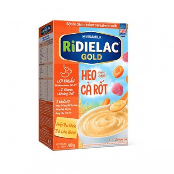 Bột Ăn Dặm Ridielac Gold Heo Cà Rốt, hộp 200g