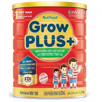 Sữa bột NutiFood Grow Plus + Đỏ, 1500g, >1 tuổi