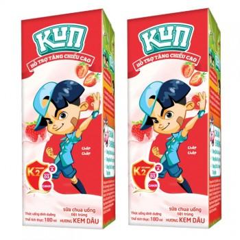 Sữa chua uống tiệt trùng LiF Kun Vị Kem Dâu 180ml