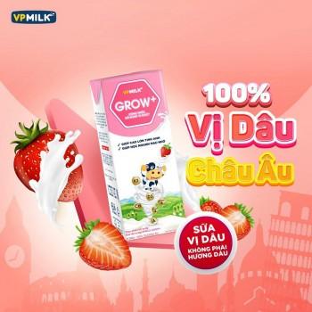 Sữa Dinh Dưỡng VPMilk Grow+ Vị Dâu, Hộp 110ml