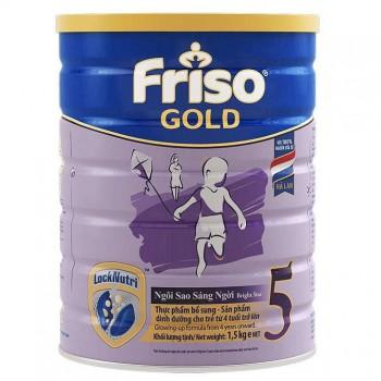 Sữa bột Friso Gold số 5 lon 1,5 kg cho trẻ từ 4 tuổi