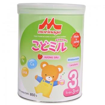 Sữa Morinaga số 3 Kodomil Nhật Bản hương dâu, 850g, từ 3 tuổi