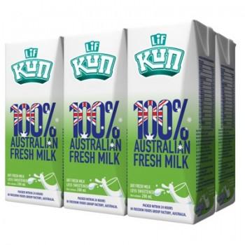 Lốc Sữa tươi 100% LiF Úc ít đường hộp 200ml
